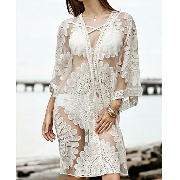 c8ccc77486 Star Posh Swim | White Floral Lace Kimono Beach Coverup | Poshmark